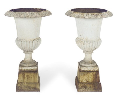A PAIR OF WHITE-PAINTED IRON U