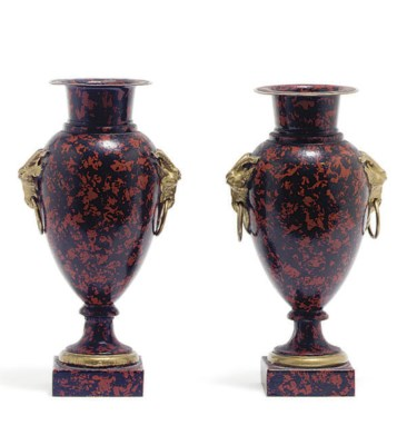 A PAIR OF TOLE PEINTE URNS,