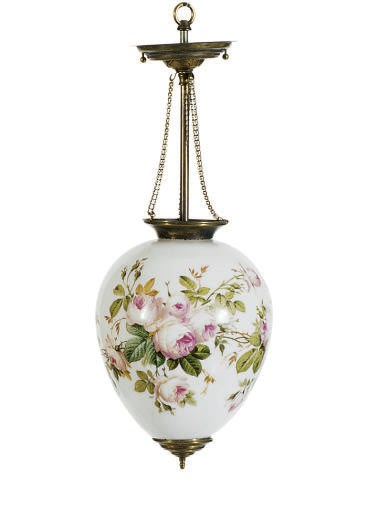 A PAINTED GLASS HANGING LANTER