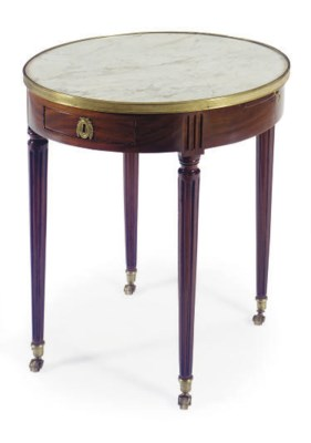 A FRENCH MAHOGANY AND MARBLE-T