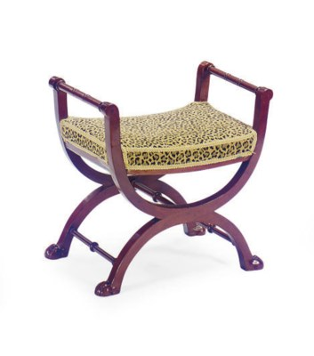 A FRENCH MAHOGANY AND UPHOLSTE
