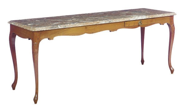 A FRUITWOOD AND MARBLE TOP SID