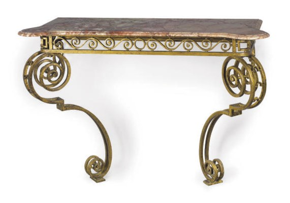 A PAIR OF GILT WROUGHT IRON AN