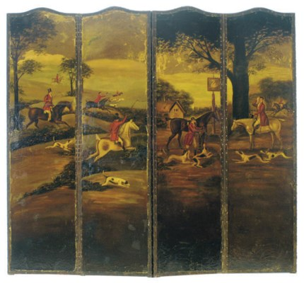 A PAINTED-LEATHER FOUR-PANEL S