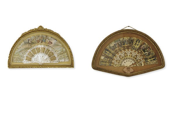 TWO FRAMED LADIES' FANS**,