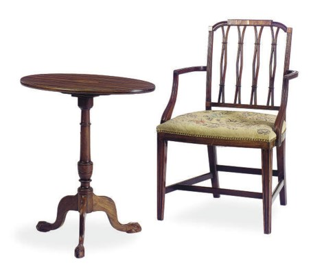 A MAHOGANY OPEN ARMCHAIR AND C