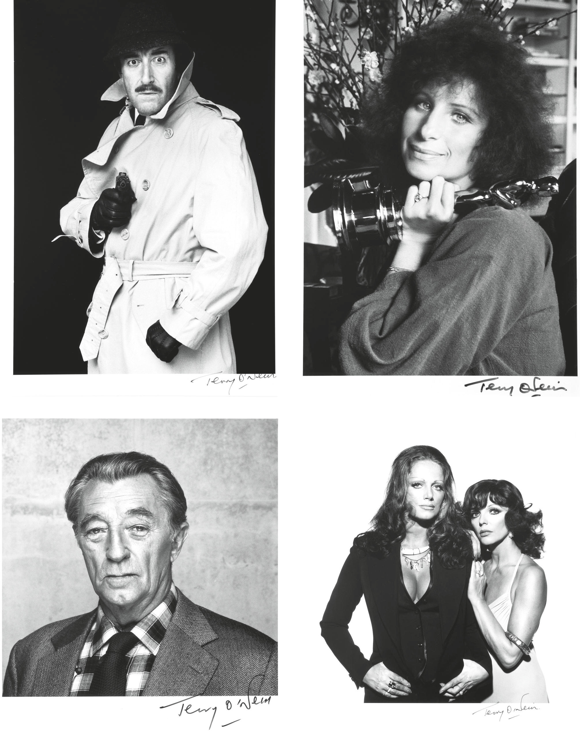 Jackie and Joan Collins, c. 1970, Peter Sellers, 1976, Barbra Streisand, 1976 and Robert Mitchum, 1984