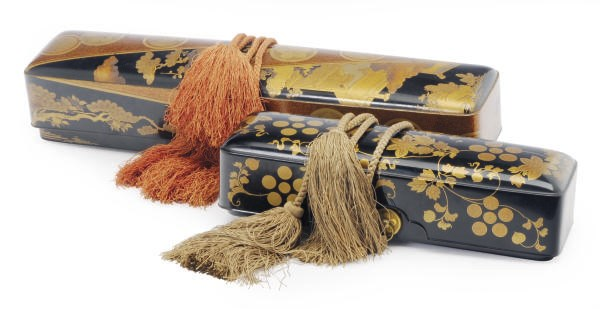 TWO JAPANESE LACQUER SCROLL BO