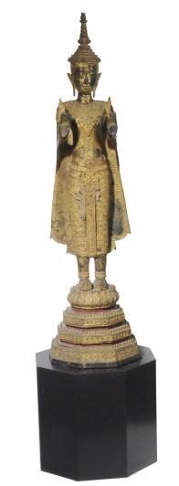 A SOUTHEAST ASIAN GILT STANDIN