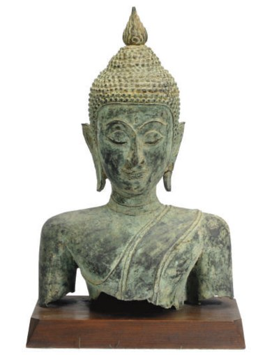 A THAI BRONZE BUST OF BUDDHA,
