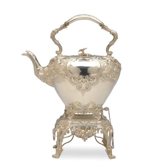 A SCOTTISH SILVER TEA KETTLE A