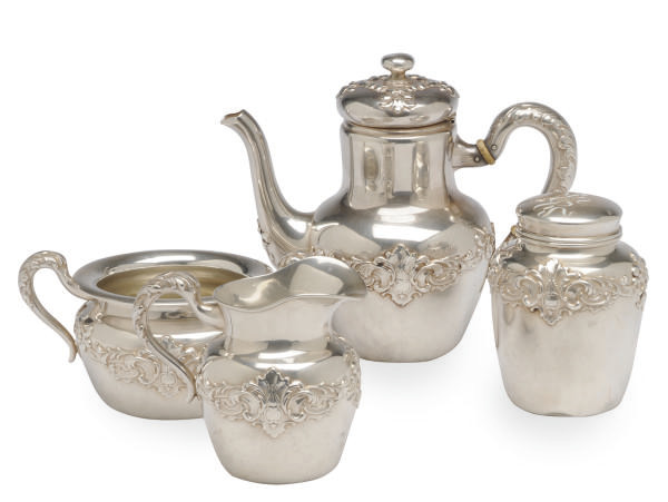 AN AMERICAN SILVER FOUR PIECE TEA SERVICE,**