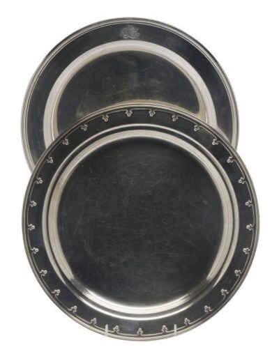 TWO AMERICAN SILVER CAKE PLATE