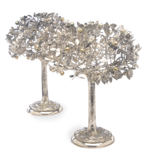 A PAIR OF GERMAN SILVER TREES,