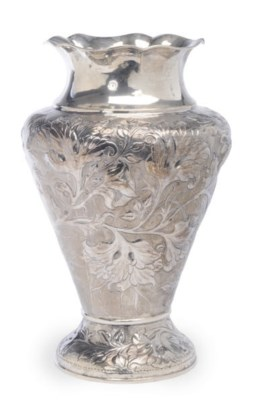 A LARGE TURKISH SILVER FLOWER