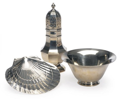 AN AMERICAN SILVER BOWL AND A