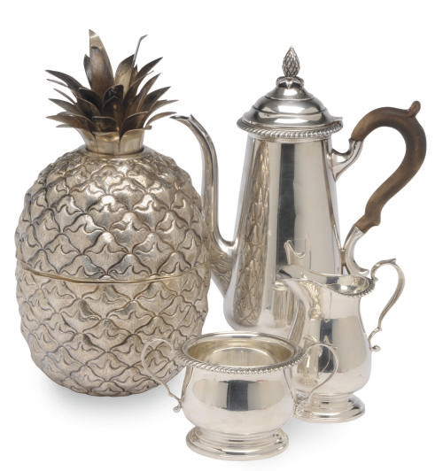 AN AMERICAN THREE PIECE SILVER COFFEE SERVICE AND A PORTUGUESE PINEAPPLE-FORM ICE BUCKET AND COVER,
