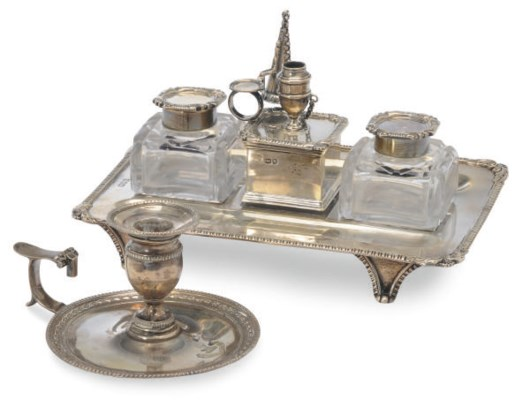 A VICTORIAN INKSTAND AND TWO S