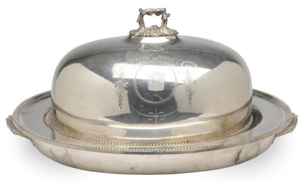 A SILVER-PLATED CARVING DISH A