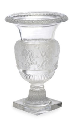A FRENCH MOLDED GLASS CAMPANA-