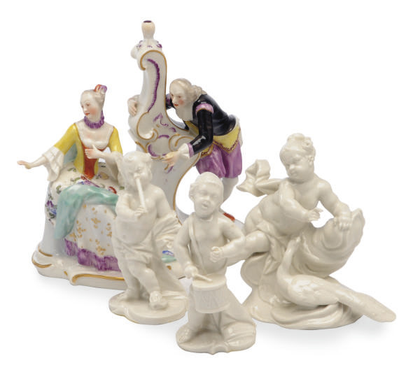 TWO GERMAN PORCELAIN FIGURE GR