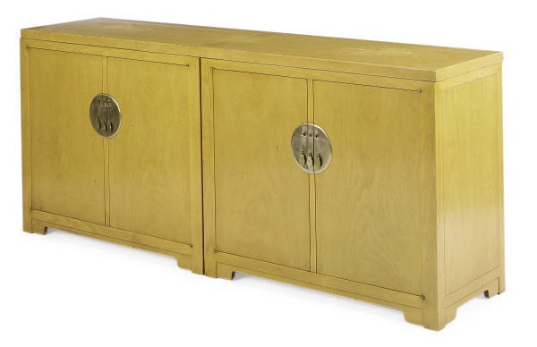 A BRASS-MOUNTED OAK CABINET,