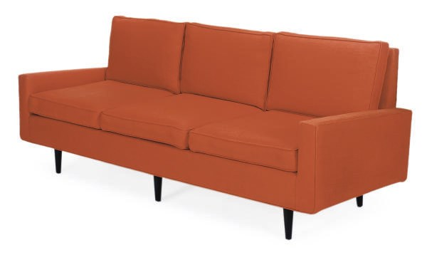 AN EBONIZED AND UPHOLSTERED SO