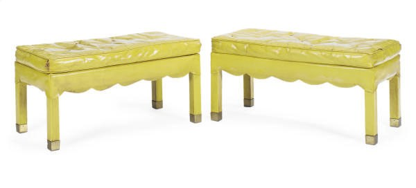 A PAIR OF LEATHER BENCHES,