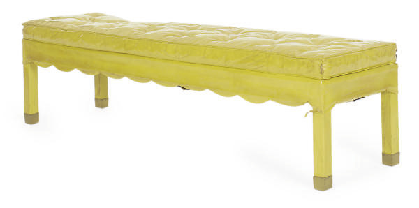 A YELLOW-LEATHER UPHOLSTERED L