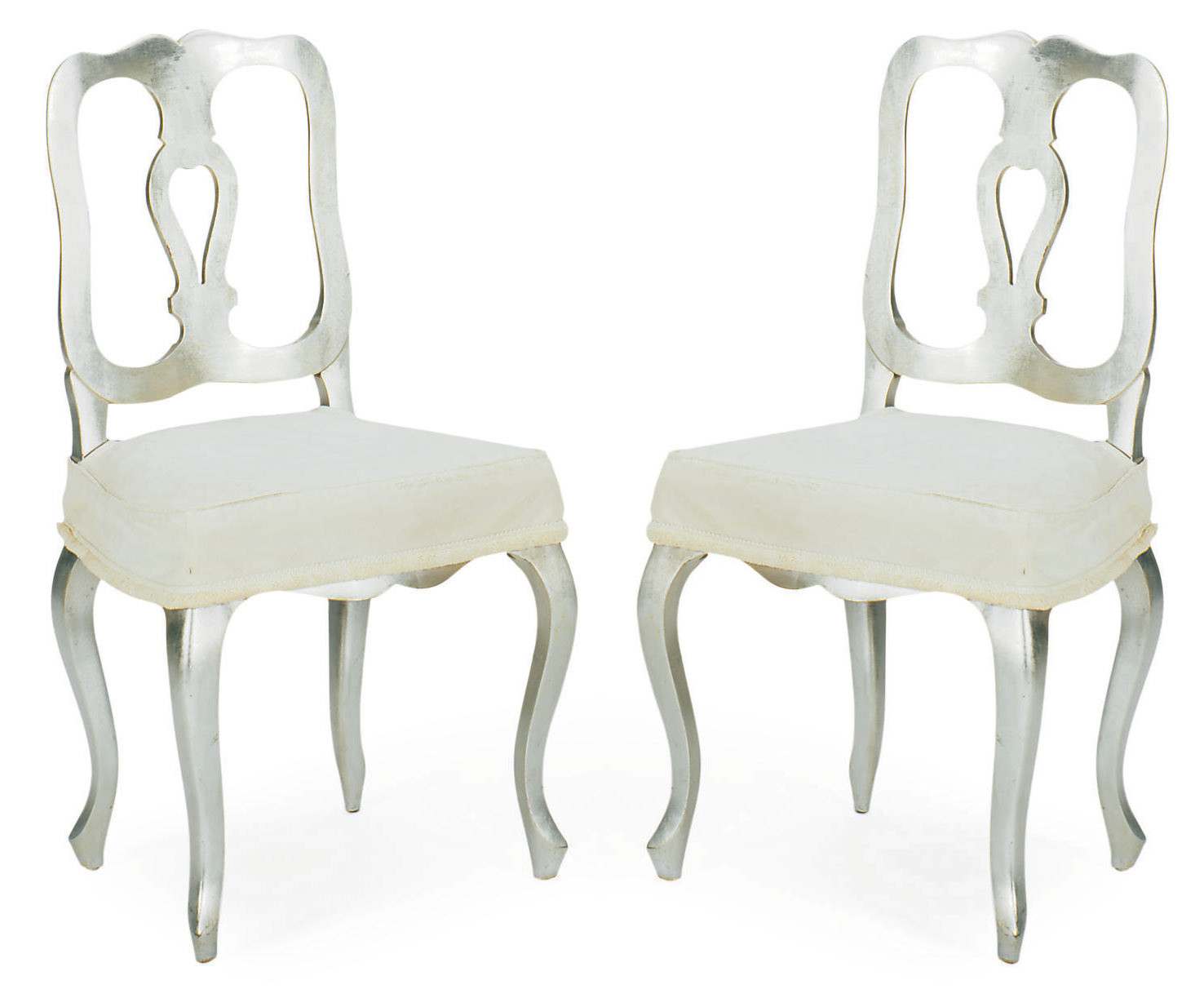 A PAIR OF SILVERED-WOOD AND UP