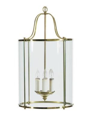 A GILT-METAL AND GLASS LANTERN