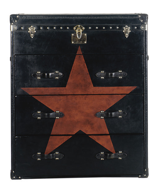A BLACK LEATHER LIFT-TOP TALL