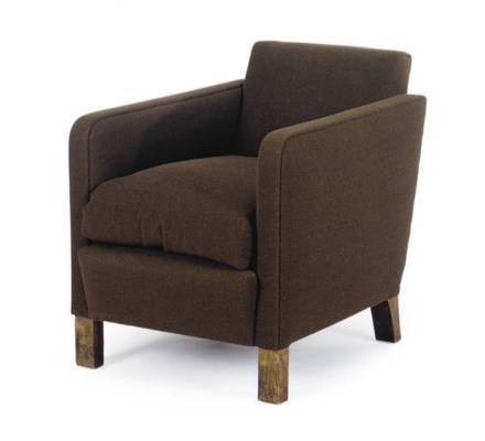 A BROWN WOOL UPHOLSTERED CLUB