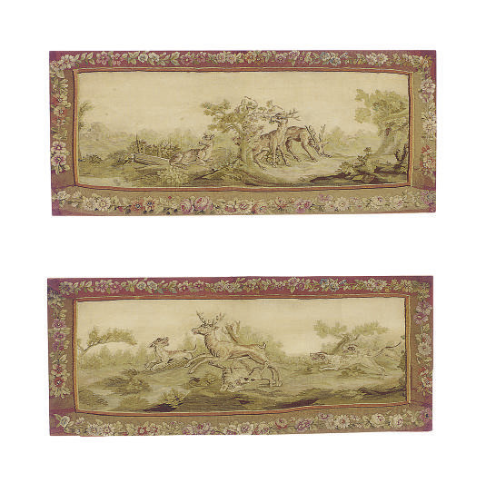 A PAIR OF AUBUSSON TAPESTRY PA