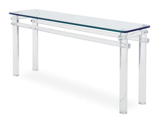 A LUCITE AND GLASS TOP SIDE TA