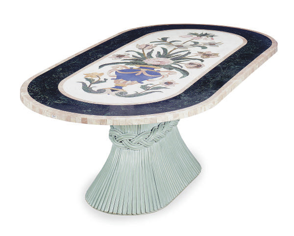 AN ITALIAN INLAID MARBLE TOP D