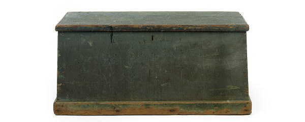 A BLUE PAINTED BLANKET CHEST