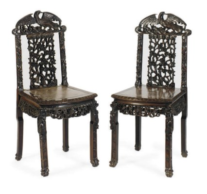 A CHINESE PAIR OF MARBLE-INSET