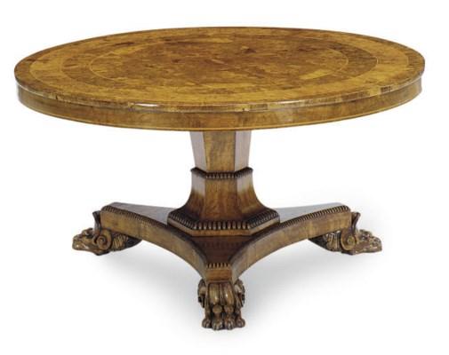 A GEORGE IV WALNUT CENTER TABL