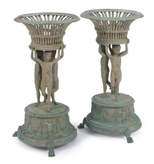 A PAIR OF GREEN PATINATED BRON