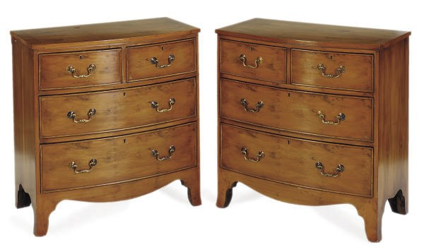 A PAIR OF PINE CHEST-OF-DRAWER