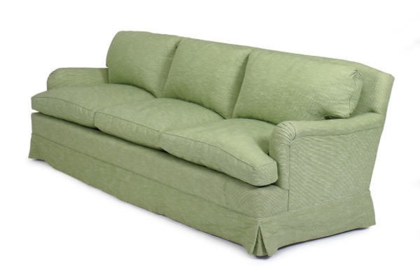 A GREEN COTTON UPHOLSTERED SOF