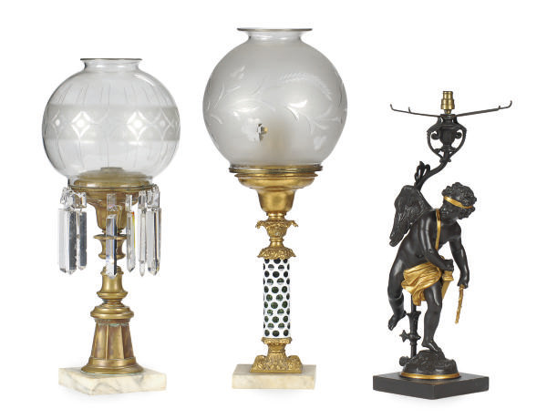 TWO CLASSICAL FLUID LAMPS,