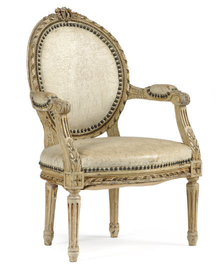 A FRENCH CREAM-PAINTED AND LEA