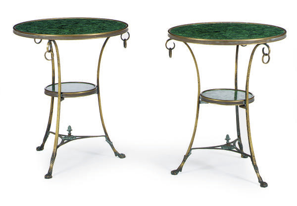 A PAIR OF PATINATED-METAL AND
