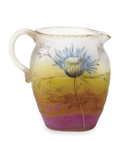 A FRENCH ENAMELED GLASS THISTL