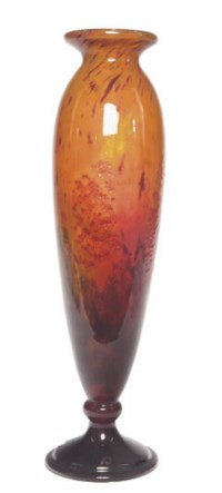 A FRENCH MOTTLED GLASS VASE,
