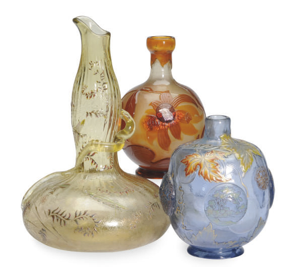 THREE FRENCH ENAMELED GLASS TA