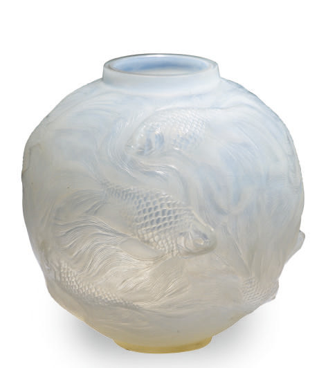 A FRENCH GLASS VASE MOLDED WIT