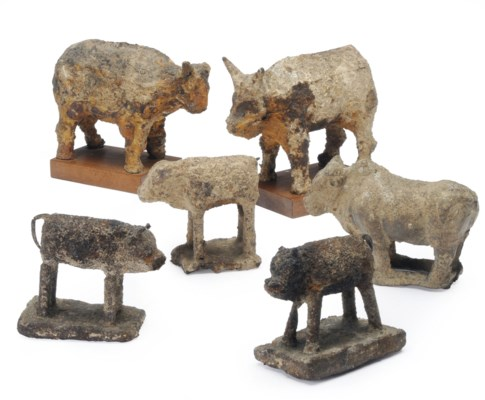A GROUP OF CHINESE IRON BOVINE